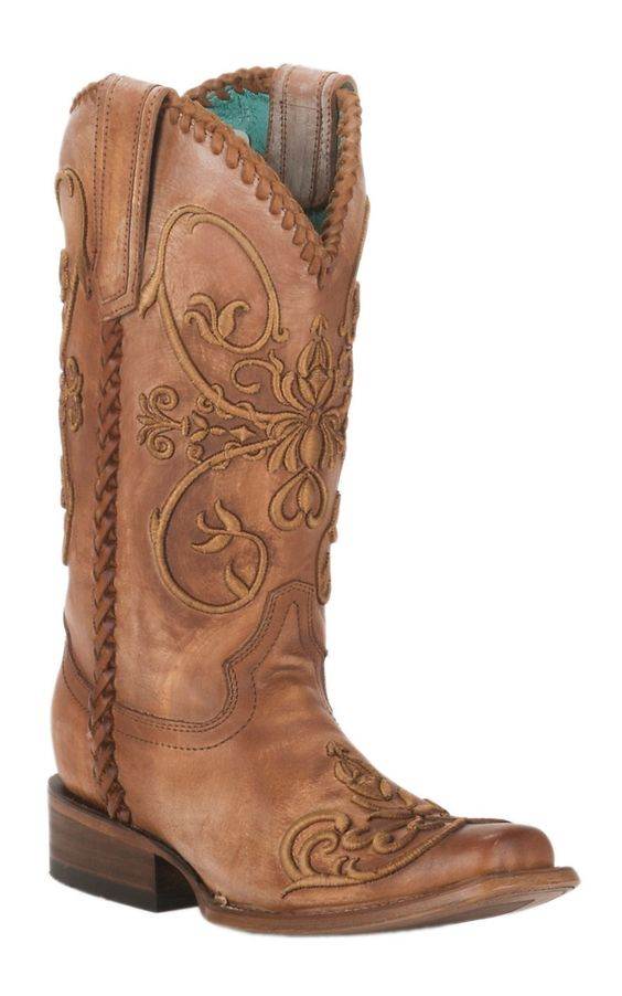 Corral Women's Distressed Tan w/ Tan Raised Scroll Embroidery Double Welt Square Toe Western Boots | Cavender's