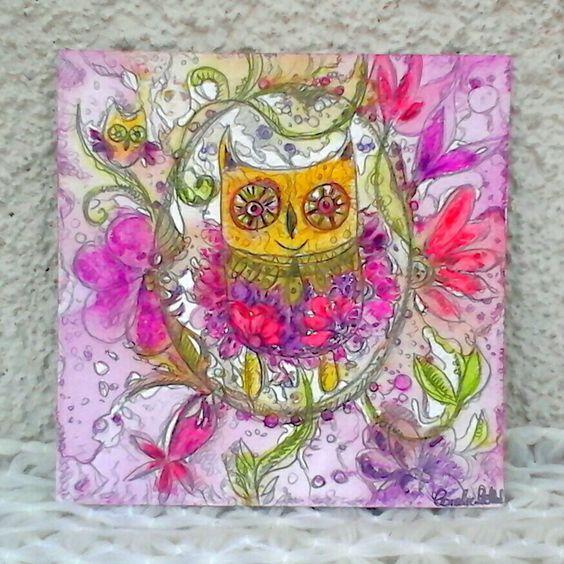 Carte originale peinte à la main hiboux peinture aquarelle sur papier unique : Cartes par coralie-bellal