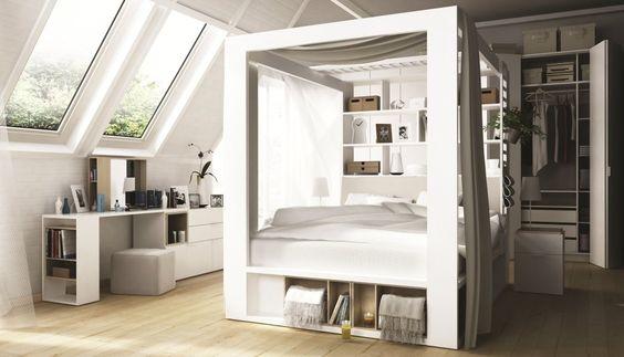 Lit à baldaquin avec rangements - sommier à lattes - Lits design et modernes avec tête de lit - Lit adulte deux personnes 160 x 200 - Mobilier VOX - Meuble de chambre à coucher moderne VOX