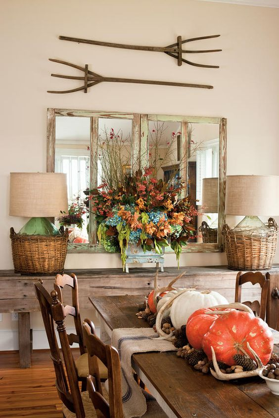 Beautiful farmhouse style dining room. Love those hay forks!