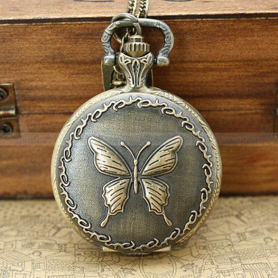 Antique bronze pocket watch locket necklace with by mosnos on Etsy