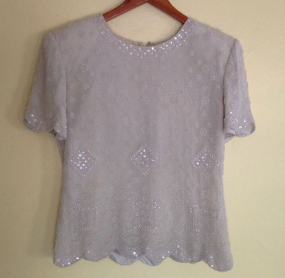 TALBOTS Vintage Ivory Beaded Scalloped Hem Silk Top Size Medium  | eBay