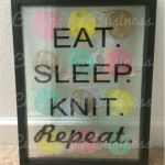Eat. Sleep. Knit. Repeat. Vinyl design in a floating frame. By cuttingforbusiness.com.