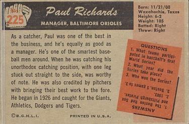 1955 Bowman #225 Paul Richards Back