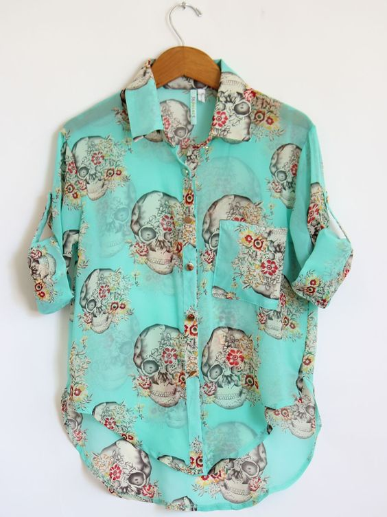 skulls and flowers turquoise blouse