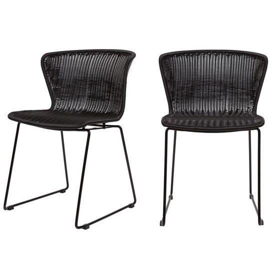 Lot De 2 Chaises Indoor Outdoor Rotin Tresse Wings Couleur Noir Chaise Chaise Design Table A Manger En Bois