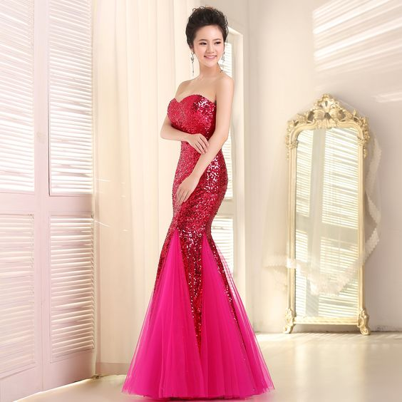 Women's Sexy Sequined Lace Bridal Wedding Toast Dress - Mermaid Evening Dress at Amazon Women's Clothing store: