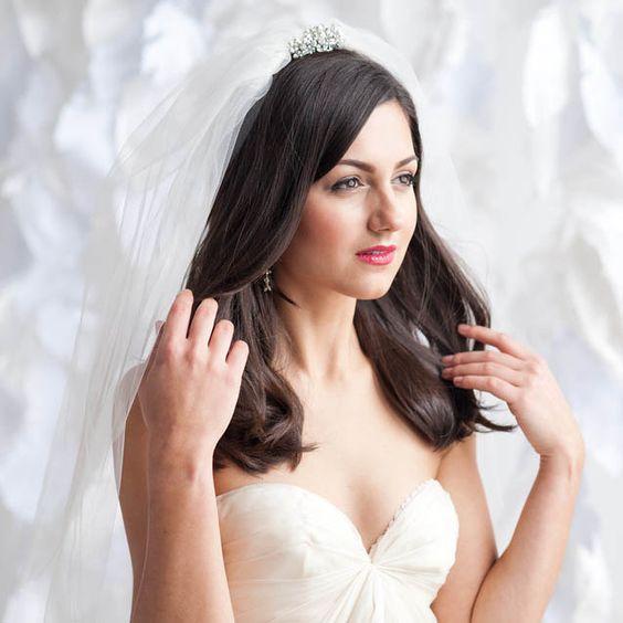 Elbow Length Blusher Bridal Veil with Simple Raw Cut Edge