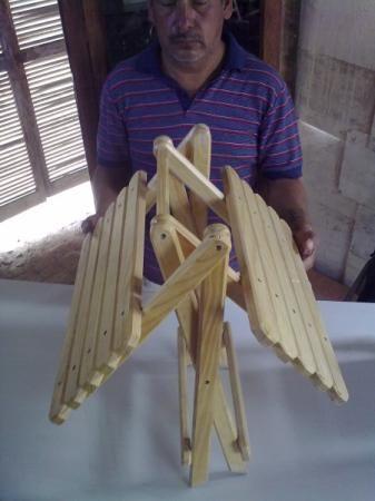 Mesa plegable de madera mesa madera de pino maquilado - Como hacer una mesa plegable ...