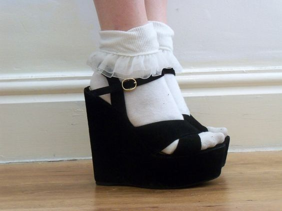 Sexy wedges with hot white socks