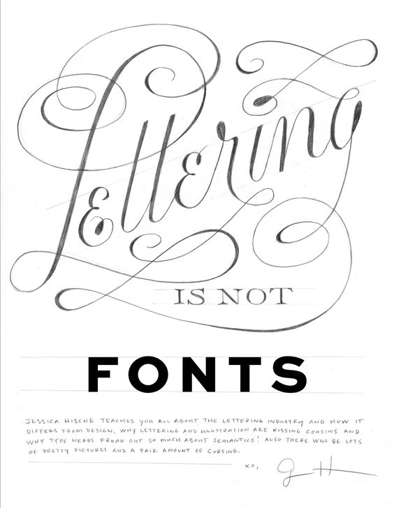 Quot lettering is not fonts by jessica hische http