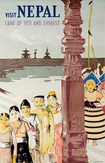 Nepal: Vintage Posters, Vintage Travel Posters India, Posters Viajes, Nepal Posters, Posters Vintage, Poster Nepal