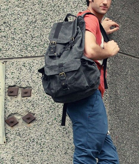 Grey Canvas Backpack/ Canvas backpack/Handmade bag
