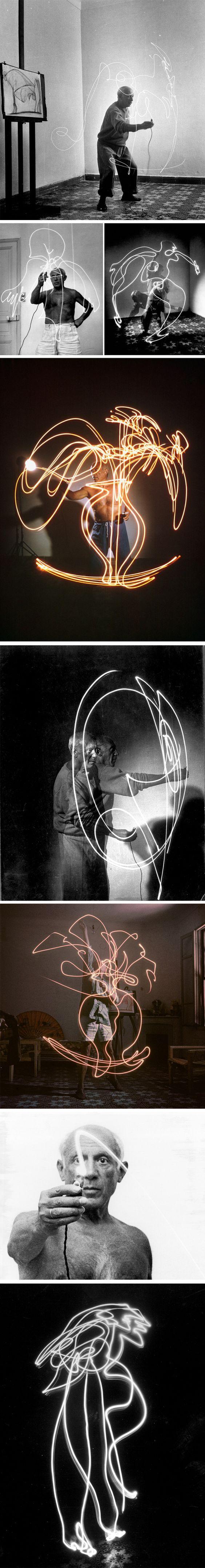 """Lumiere et mouvement  """"Dessin de lumiere"""" de Pablo Picasso par Gjon Mili. 1949"""