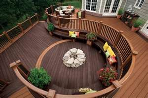 Love the firepit with built in seating.