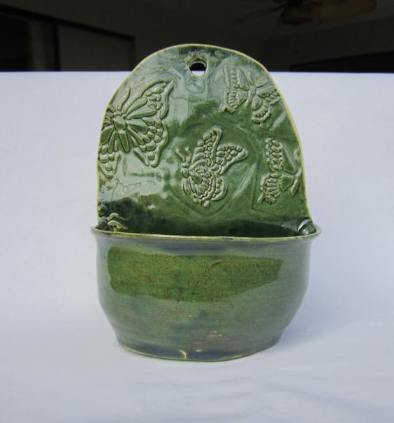 Pottery Planter, Ceramic Wall Planter, Wall Planter, Butterflies in Green