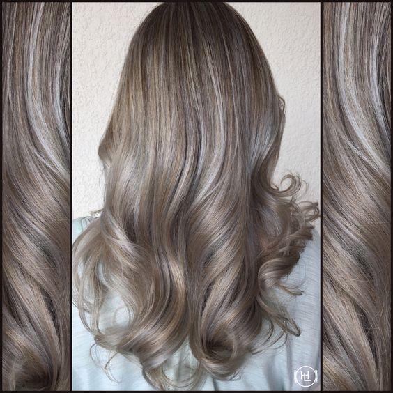 Silver Ash Blonde, Ash Hilites ,  Soft lights, wavy hair hair by: Emilio V. @ HairLegacy