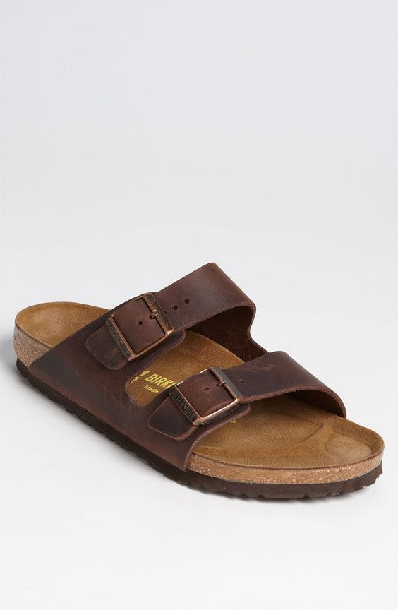 new birkenstock arizona brown leather slip on buckle flip. Black Bedroom Furniture Sets. Home Design Ideas