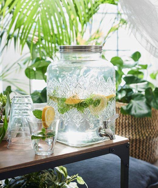 Ikea FÖrfriskning Clear Glass Jar, Glass Beverage Dispenser Ikea
