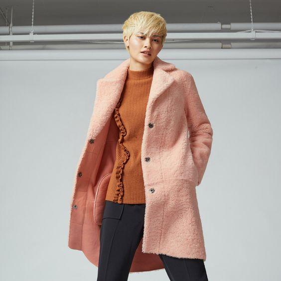SHOP AW16: Cotton candy pink car coat.