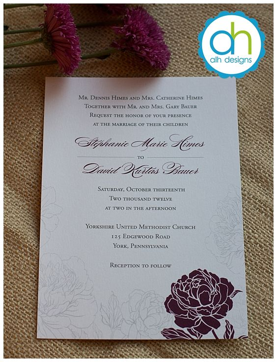 Sangria and gray colored flower wedding invitation 091314