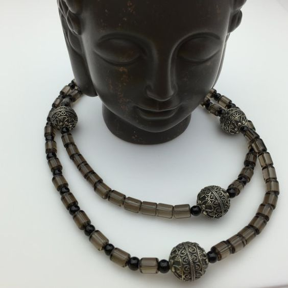 Calming Elegant Peaceful!!  Smoky Quartz, Black Onyx and Sterling Silver by Stone Angel Healing on Etsy
