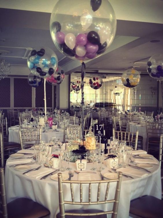 "Small 5"" balloons stuffed inside diamond clear 3ft balloons set as table arrangements:"