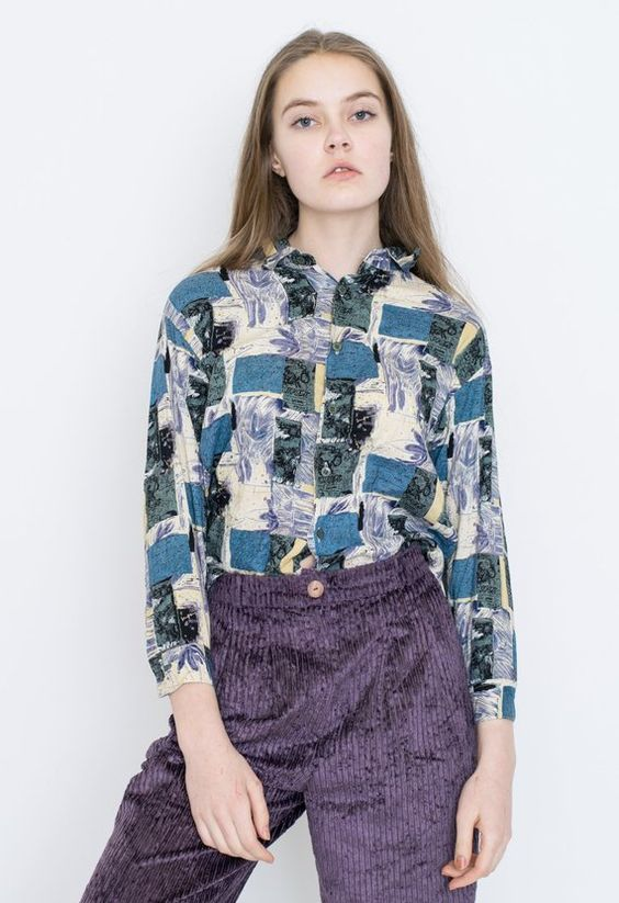 VINTAGE Colourful Checked Patterned Retro Shirt