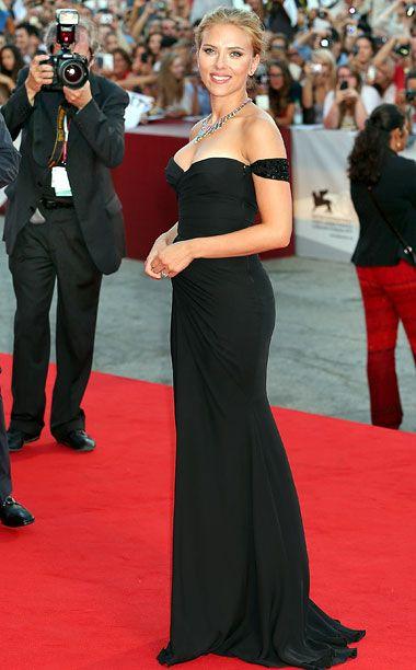 Pink red carpet black dress