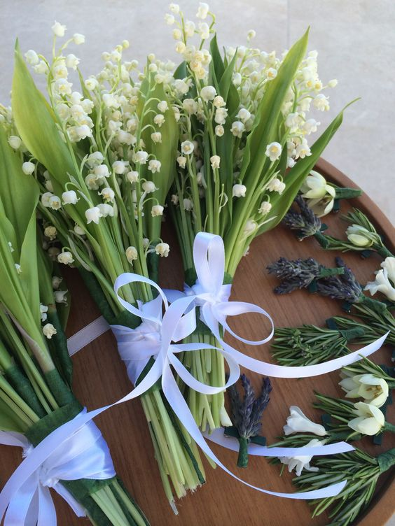 """Lilly of the Valley Bouquet..In the """"language of flowers"""", the lily of the valley signifies the return of happiness.  #wedding #Fleria www.fleria.gr"""