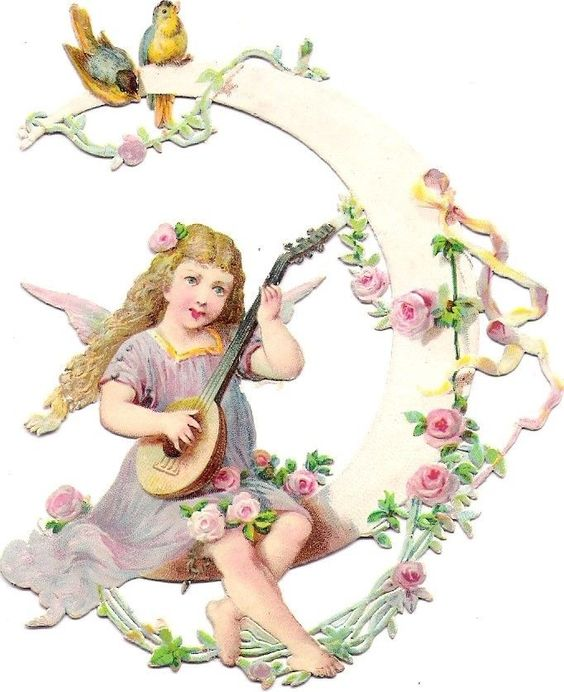 Oblaten Glanzbild scrap die cut chromo Engel 11cm angel cherub Mond moon bird: