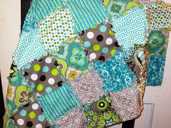 Turquoise Gray Green Rag Quilt Blanket by SweetPeasLayla on Etsy, $55.00
