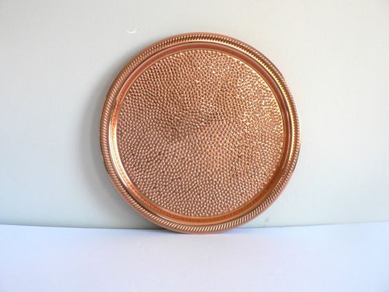 Round Copper Tray by Coppercraft Guild  hammered by myTreasureNook