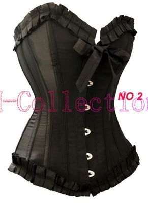 Womens Quality Classic Burlesque Black Lace Up Basque Corset Bustier Overbust A | eBay