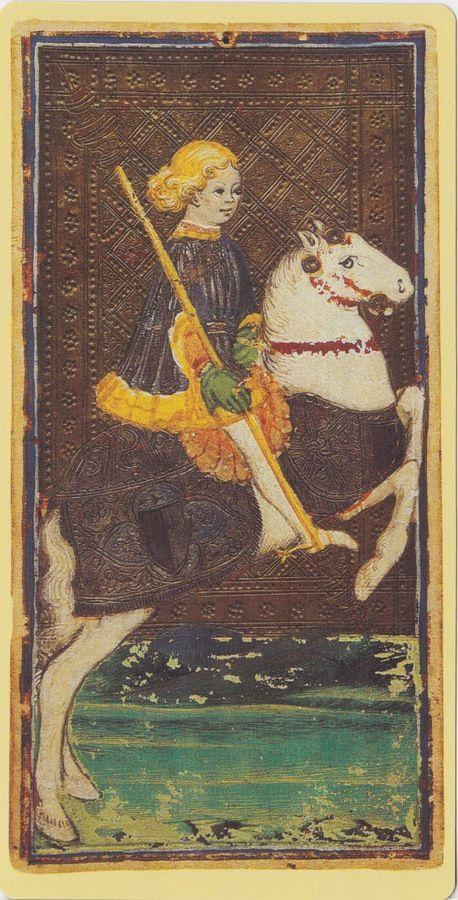 Knight of Wands -- Pierpont Morgan Visconti Sforza Tarocchi Deck, Italy, Milan, ca. 1450: