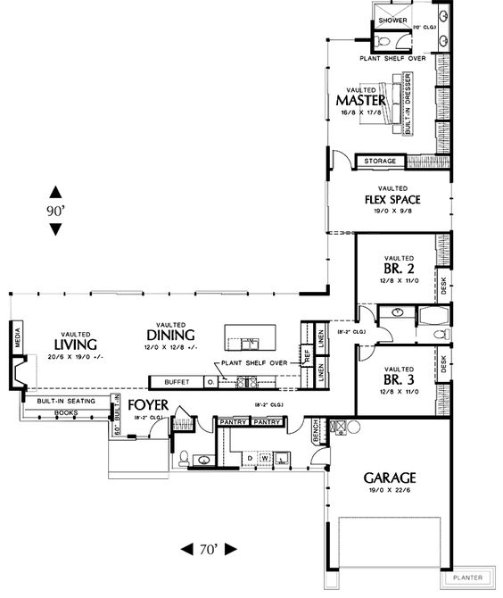 L shaped house plans with 3 car garage dont need a three for One level house plans with 3 car garage