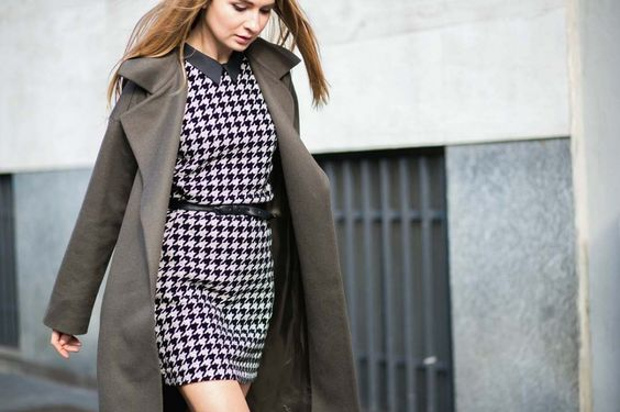 Houndstooth patterned dress with collar // MFW street style