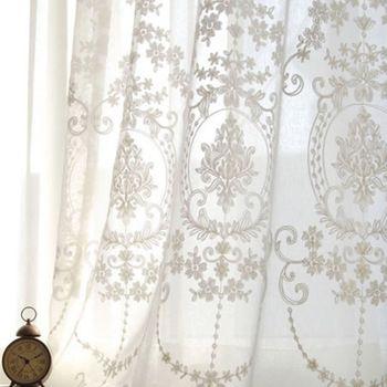 fashion geborduurde voile gordijnen voor de slaapkamer witte tule gordijnen europa draperieën organza garen