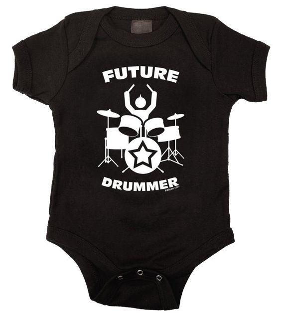 Future Drummer Rock Baby One Piece Bodysuit Romper in Black - nawwww just like Daddy!! <3 <3