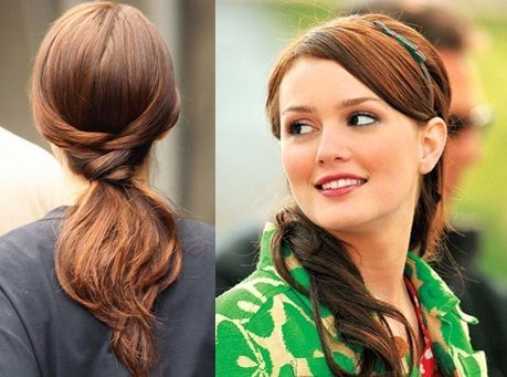 """The Blair Waldrof - This look earns bonus points as a """"bike-friendly"""" look. Curl your hair and back comb at the crown area. Divide your hair from sides into two part. Tie a low pony tail and pin your hair criss-cross from the partitioned hair from the sides."""
