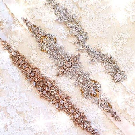 Swooning over the first of our new Spring Haute Bride arrivals heart emoticon Gold and blush tones pair perfectly with a champagne lining! #newarrivals #hautebride #bridalsash #blingbelts #swoonworthy #hydeparkbridal #orderyourstoday