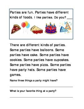 Party Items Following Directions Comprehension Emergent Reader Printable Write In Each Box Critical Thinking Literacy 2 pages. Holiday, Seasonal, Halloween, Back to School, Parties.