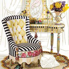 Mackenzie-Childs Garden Awning Vanity Chair