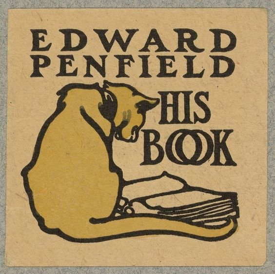 "article, ""35 bookplates belonging to famous people"", edward penfield, his book, yellow cat looking at an open book"
