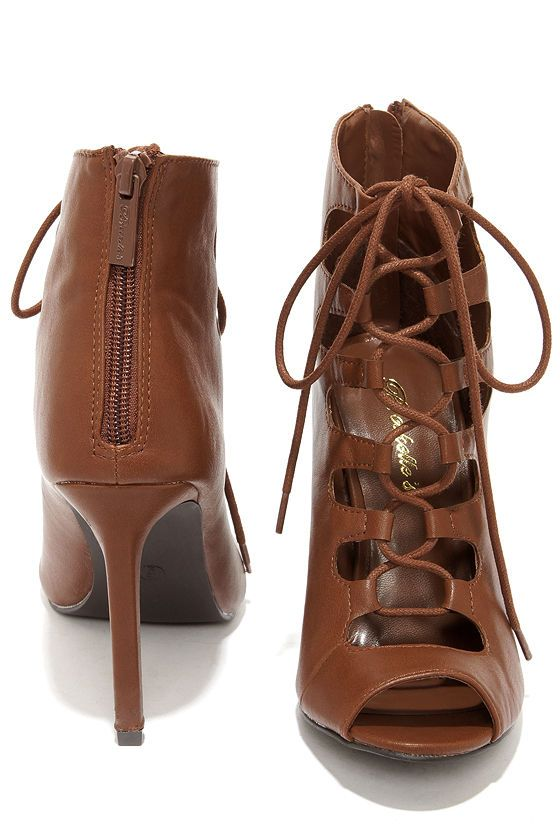 Rebeca 21 Tan Peep Toe Lace-Up Heels | Pinterest | Products Lace