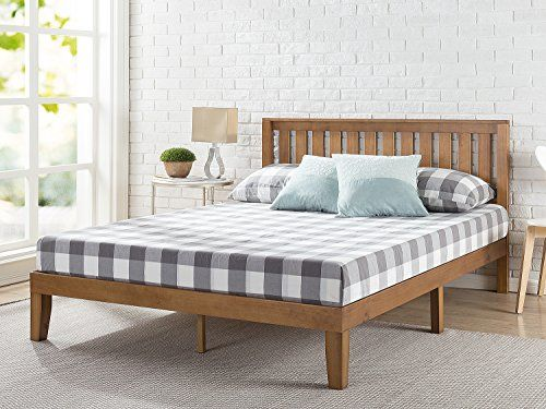 Zinus 12 Inch Wood Platform Bed With Headboard No Box Spring Needed Wood Slat Support Rustic Bed Without Headboard Headboards For Beds Solid Wood Platform Bed