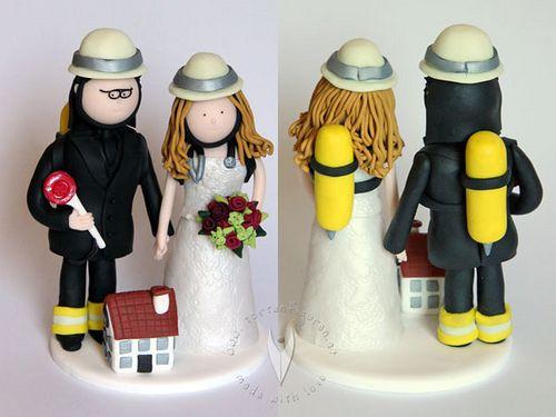 Feuerwehr Krankenschwester Brautpaar Hochzeitstortenfigur von www ...