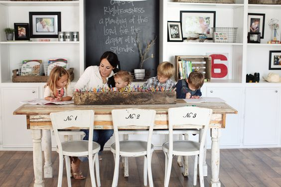 craft table: Dining Room, Homeschool Room, Crayon Storage, Numbered Chairs, Chalkboard, Crayon Holder, Magnolia Farm, Fixer Upper