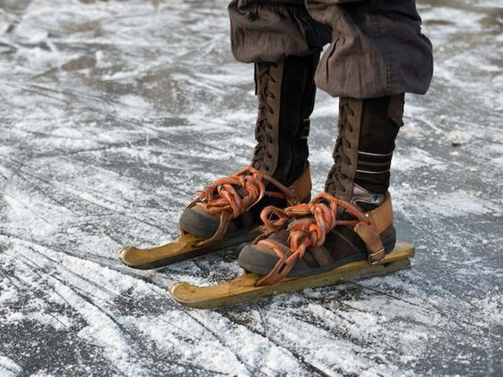 The Dutch not only have their wooden shoes, they also have their wooden ice skates!: