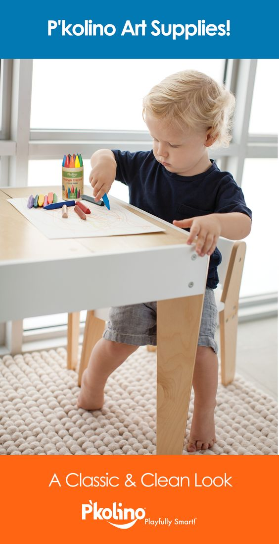 P'kolino art supplies for kids! Easier to hold, simple to clean, longer lasting, and a classic, clean look.